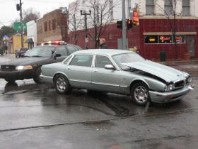 This silver jaguar struck a golden-colored Chevy pickup truck in Downtown Ypsilanti this afternoon. The incident was cleared and traffic was moving freely by 1:15 p.m.