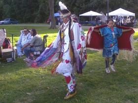 People participate Saturday in the Heritage of Healing Project's Summer Gathering, a powwow put on by a new local non-profit to education Native Americans about cancer and healthy living. It will continue in Riverside Park today at 11 a.m.