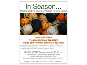Check out local vendors at the Thanksgiving Market from 3-7 p.m. Tuesday at the Corner Brewery.