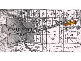 The track pans (yellow bar) were built on the railroad line just north of present-day Willow Run Airport.