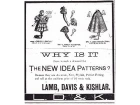 An 1897 ad from Lamb, Davis & Kishlar's dry goods store at 104 & 106 W. Michigan Ave. offered sewing patterns for dresses, sleeves and