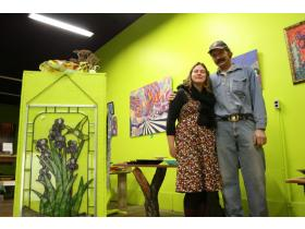 Craig and Michelle Shankwiler, pictured above, as well as Naomi Rentfrow opened Shankwiler 123 at 35 E. Cross Nov. 24. The storefront is an art gallery, a drop-off location for an eBay store, wholesale stained glass supply store and above all, a great pla