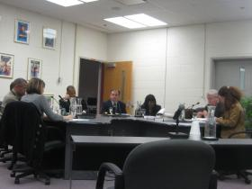 The Ypsilanti Public Schools' Board of Education at its last meeting Monday night. A special meeting is scheduled Thursday to hear the administration's plan to cut budget costs.