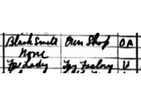 A fragment of the 1910 Ypsilanti census shows Barbara Disbrow's father's job of blacksmith and her own as a worker at the Scharf tag factory.