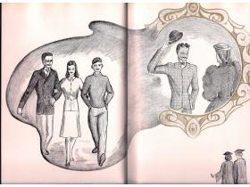 The 1942 Aurora yearbook, the 50th anniversary edition, included images that contrasted modern and old-time students.