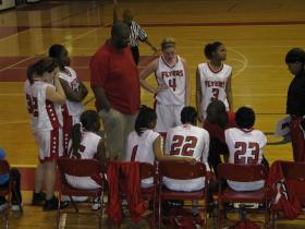 Willow Run during a timeout against Taylor Kennedy, the Flyers won 41-30.