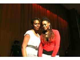 Sisters Princess (left) and Christine Onyebuchi won first place ($300) at Ypsilanti High School's Ypsi Idol Wednesday evening for their original song and dance