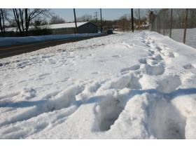 Snow removal enforcement was encouraged by City Council after repeated complaints some property owners do not shovel. The old Motor Wheel facility, above, was on that list of repeat offenders. More than 348 invoices were sent in the past week.