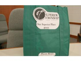 Superior Township purchased 200 reusable tote bags for its Green Fair at the end of May. An example of what the bags will look like was brought into Monday night's Board of Trustees meeting. The township is using Ypsilanti-based VG Kids for the printing.