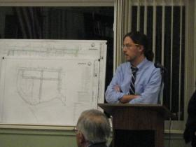 City Planner Richard Murphy discusses Water Street plans with City Council at a special meeting held to discuss the topic Tuesday night.
