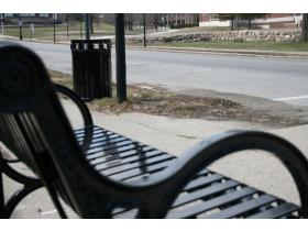 Eight benches, 10 garbage cans and four bike racks were installed along West Cross Street today and earlier this week.