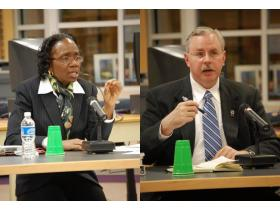 Neither East St. Louis District 189 Superintendent Dr. Theresa Saunders, left, or Ypsilanti Assistant Superintendent Richard Weigel, right, were chosen by the Ypsilanti Public Schools Board of Education Tuesday night.