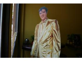Elvis can be spotted throughout Ypsi this weekend. This cardboard cut-out sits in the window of Beezy's Cafe on Washington.  The two-day festival begins tomorrow and continues through Saturday.
